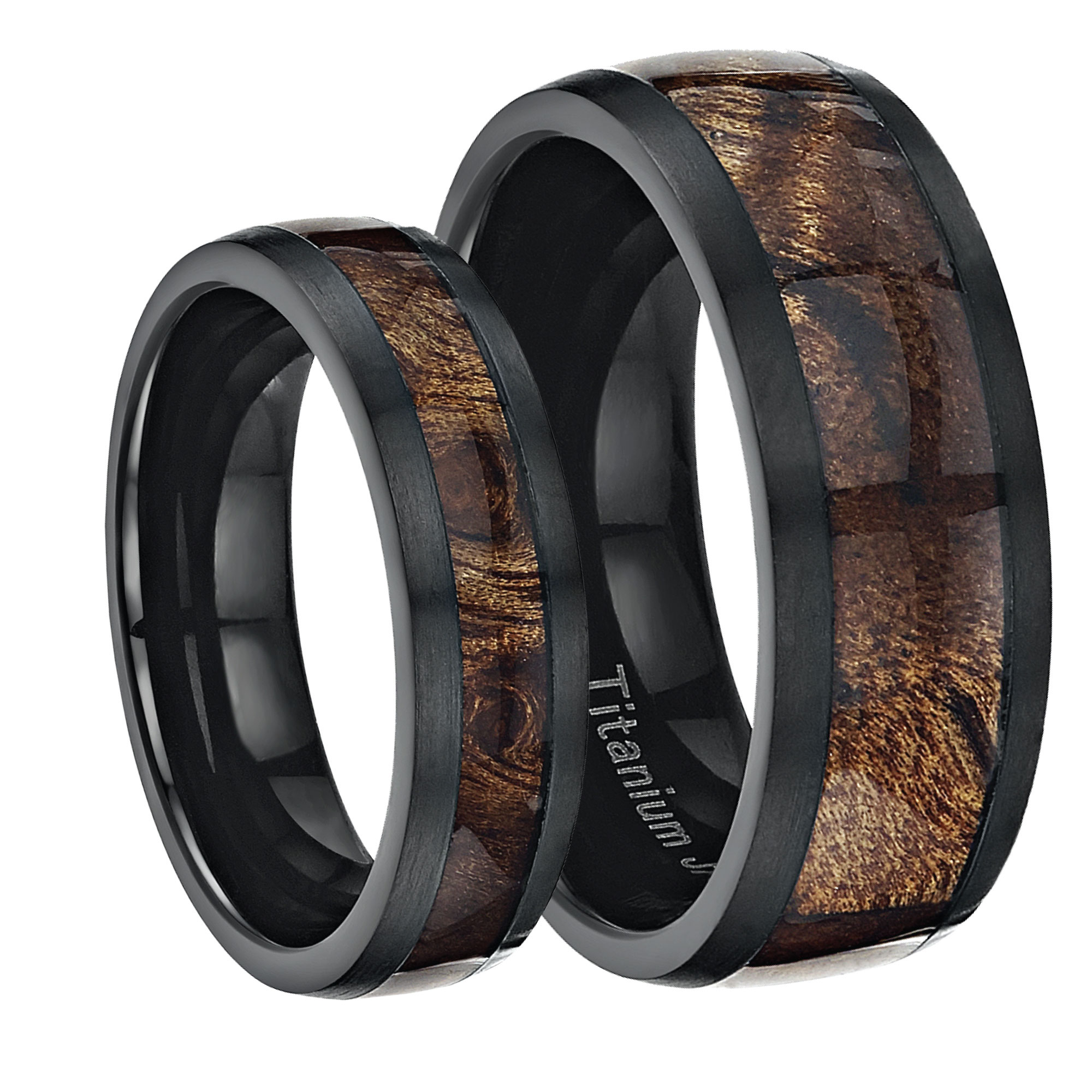 His Amp Hers Black Titanium Wedding Ring Band Set Inlayed