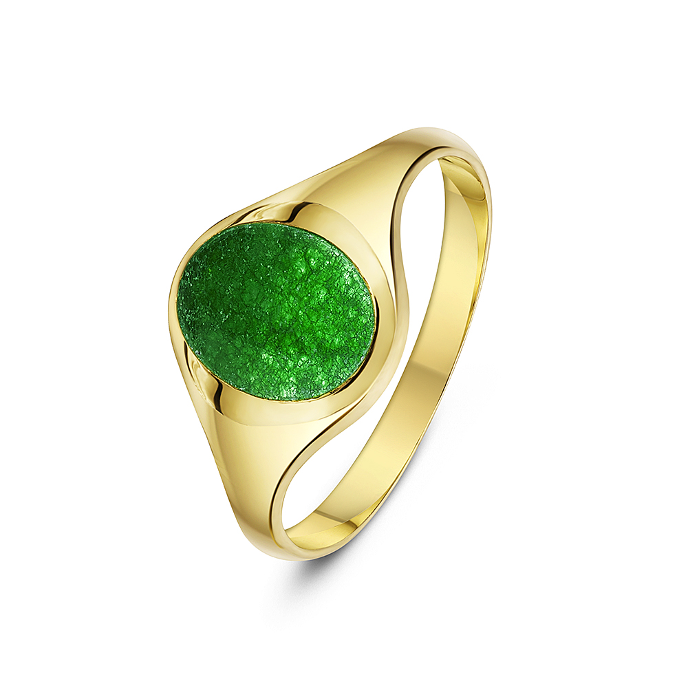 Mens 9 Ct Yellow Gold Oval Shape Jade Stone Signet Ring