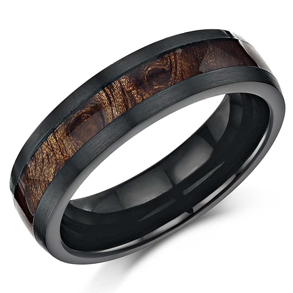 Black Titanium Wedding Ring Band Ring With Koa Wood Inlay