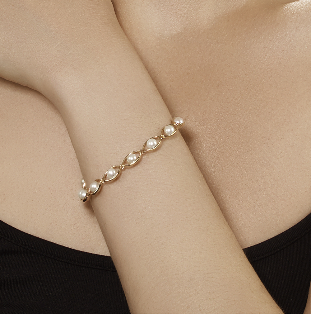 9ct Yellow Gold White Freshwater Pearl Bracelet Amp Drop