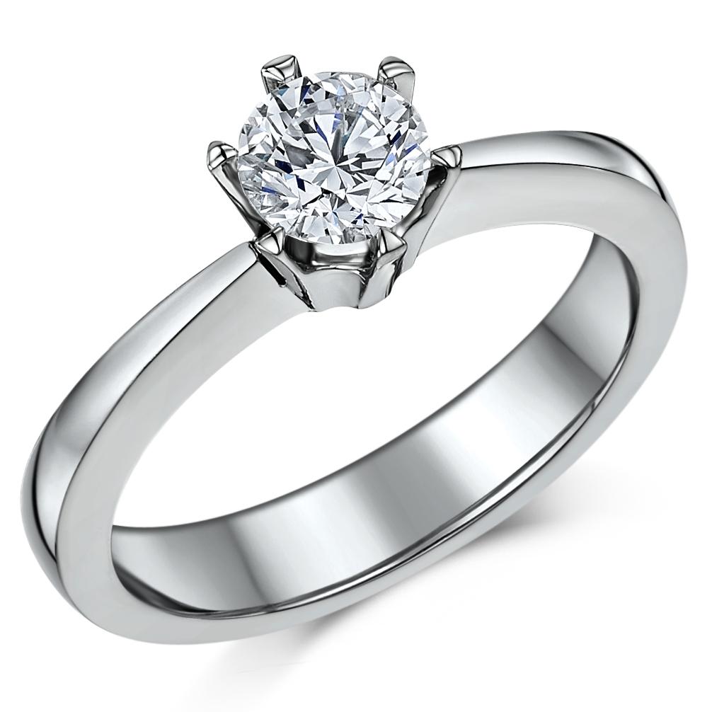 Classic Titanium 6 Prong 090ct Solitaire Engagement Ring