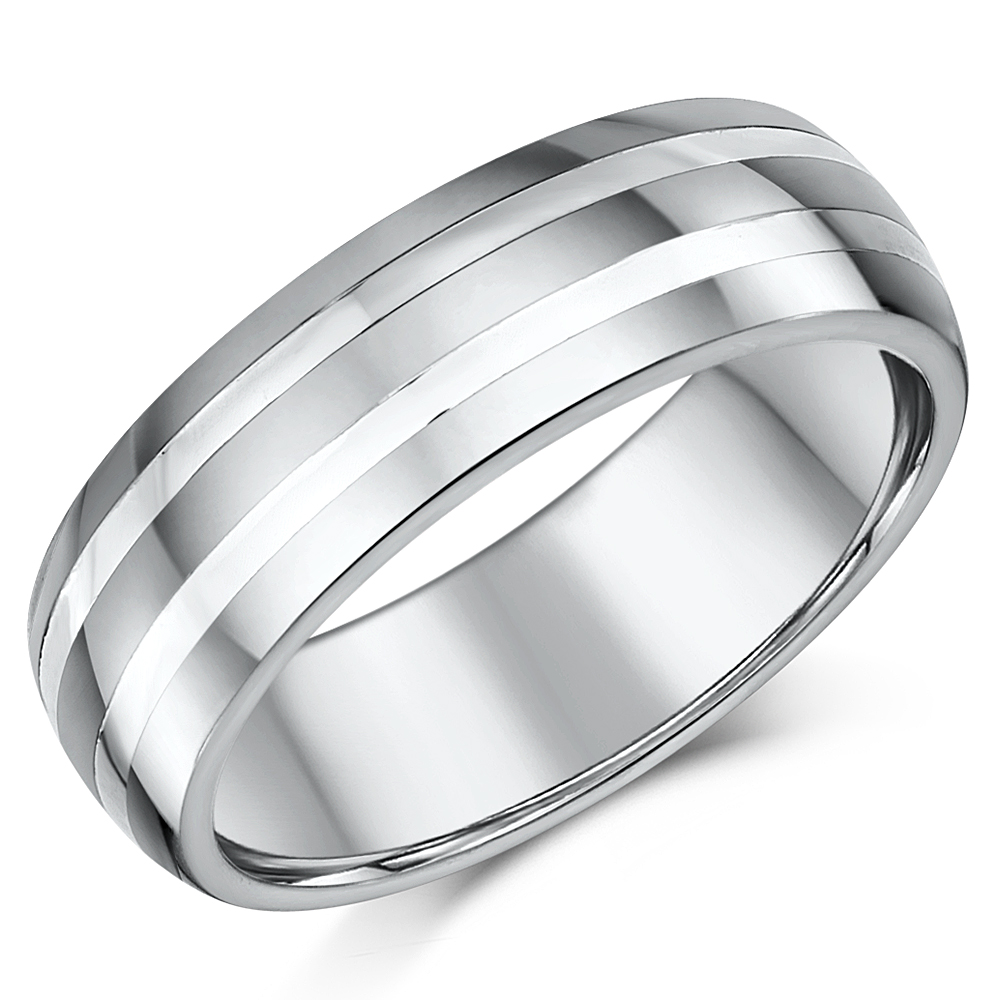 7mm Mens Tungsten And Silver Striped Wedding Ring Band