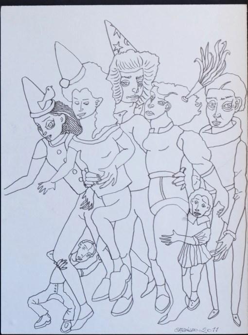 Castillo Jorge, personajes de circo, tinta china papel pegado a tabla, enmarcado, dibujo 39×30 cms. y marco 58×48 cms. 1200 (5)