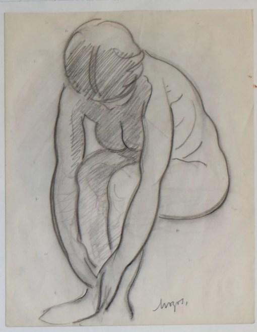 Mozos Pedro, dibujo carboncillo papel 26,50×21 y marco 46×36 cms. mujer sentada 400 (3)