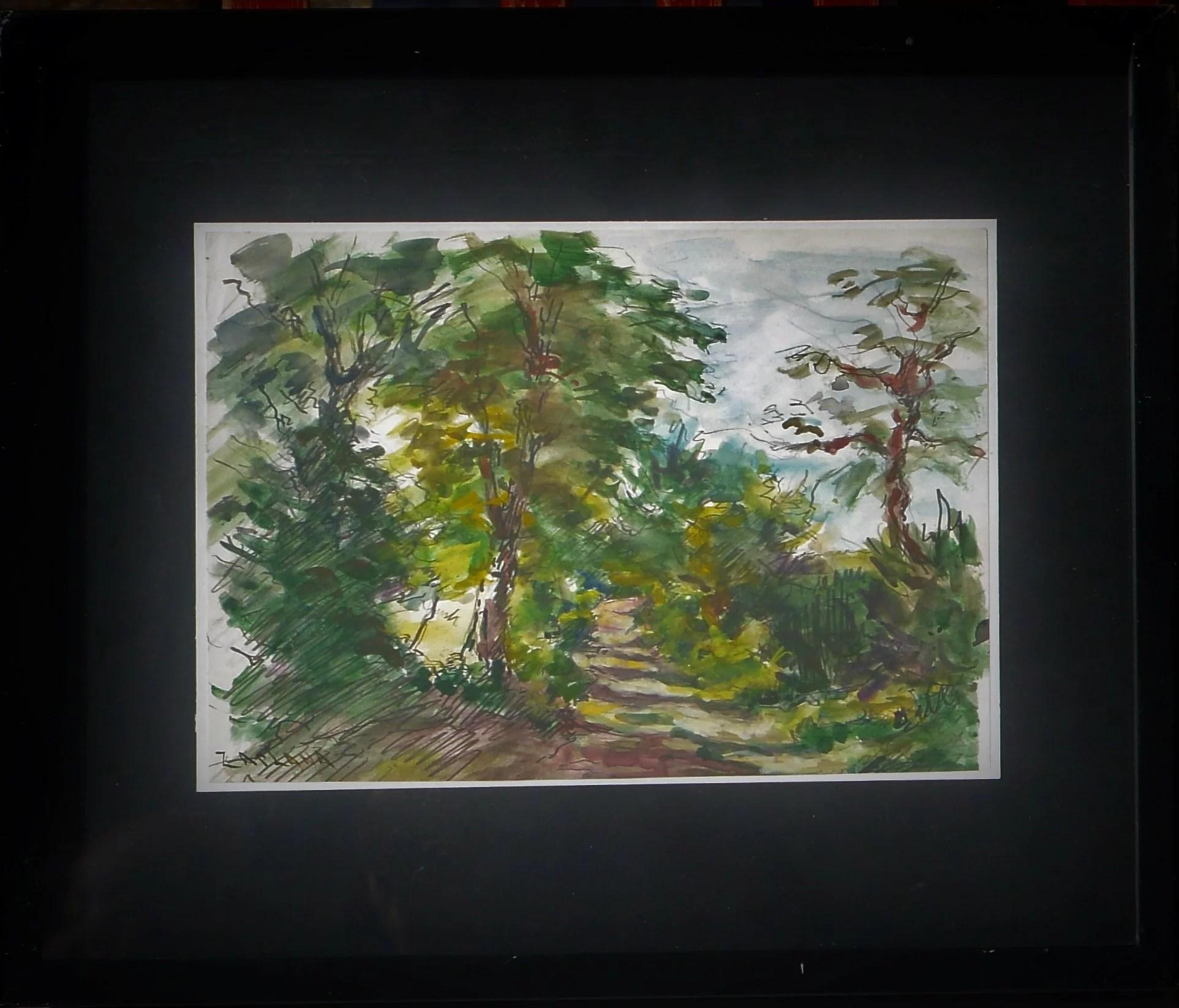 """Zaplana – """"Paisaje boscoso"""" dibujo acuarela papel, enmarcado – El ..."""
