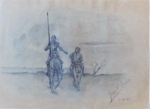 Lacruz Jose Ma., Don Quijote y Sancho, dibujo lápiz papel, enmarcado, dibujo 21,50×16 cms. y marco 35×44 cms. (2)
