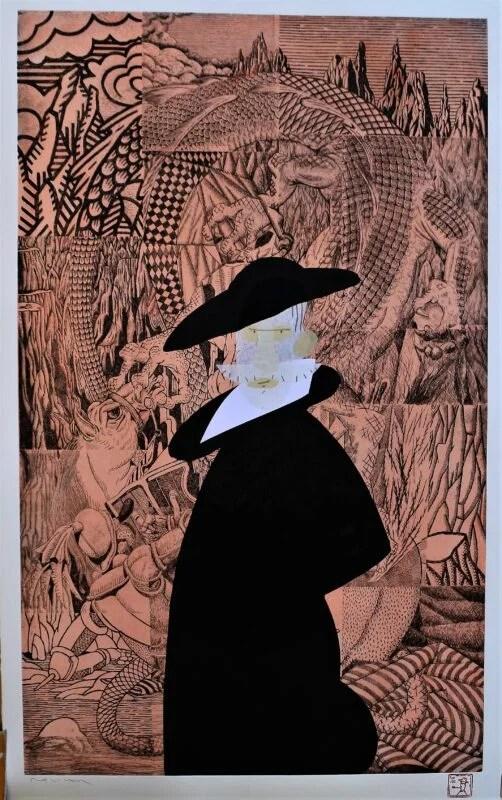 Bellver Fernando, Pequeña pinacoteca de la corte de Felipe II, Monotipo, tinta china y collage sobre grabado al aguafuerte, plancha 89×54 cms. y papel 96×60 cms (6)