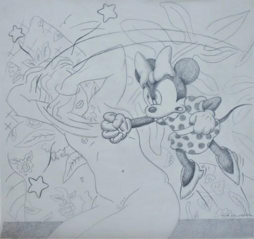 Bellver Fernando, Minnie-Matisse, dibujo original grafito sobre acetato de papel, preparatorio para grabado, 49×54 cms.. (15)