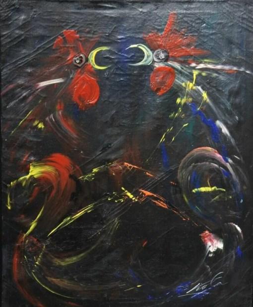 Viola Manuel, Pelea de gallos VII, pintura técnica mixta lienzo, enmarcado, pintura 72×60 cms. y marco 79×66 cms (6)