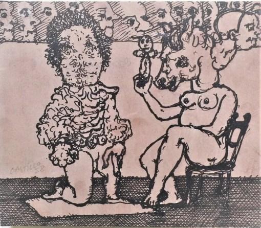 Castillo Jorge, Comediantes, dibujo original tinta y lavado sobre papel, enmarcado, dibujo 17×20,50 cms. y marco 36,50x 39 cms. (4)