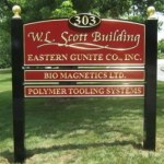 Multiple tenant post and panel carved HDU sign with 23-karat gold leaf Exton, PA