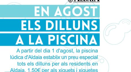 Los lunes de agosto, la piscina de Aldaia tendrá precios especiales