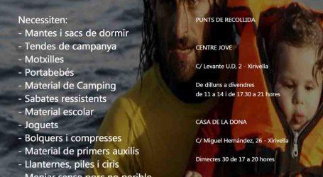 Xirivella col.labora amb la plataforma 'En RED SOS Refugiados' recollint roba i aliments