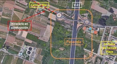 Es licita la redacció del projecte de construcció  d'una passarel·la sobre la CV-21 a la Pobla de Farnals