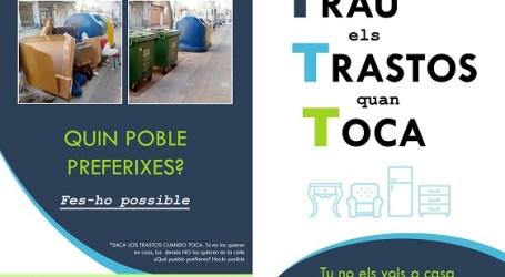 Bonrepòs i Mirambell posa en marxa la nova campanya 'Trau els Trastos quan Toca'