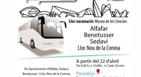 Benetússer, Sedaví, Alfafar y Llocnou de la Corona habilitan un servicio de autobús para acudir al punto de vacunación en la Ciudad de las Artes y las Ciencias