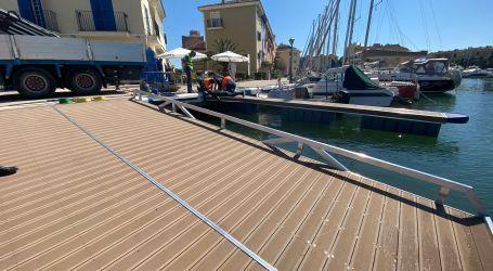 La Marina de Port Saplaya instala una rampa de varada y un «finger» en el puerto deportivo