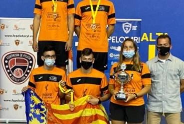 Medalla de oro del equipo cadete de la selección valenciana en la modalidad de frontenis olímpico