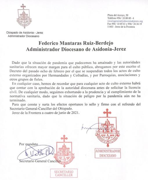 Decreto procesiones Jerez