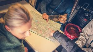 rv planning trip with map