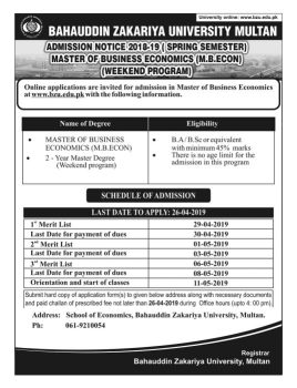 BZU Master Of Business Economics Admissions