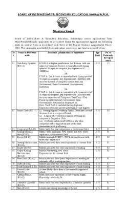 BISE Bahawalpur Jobs Last Date 01 June
