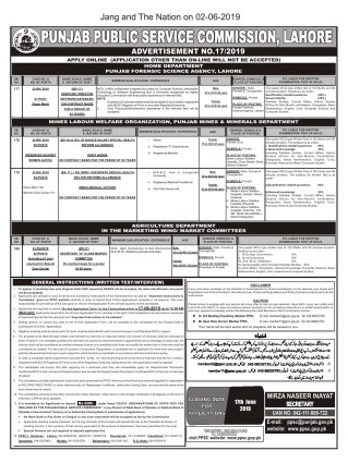 Latest PPSC Jobs Advertisement No.17