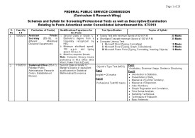 FPSC Schemes and Syllabus for Screening Tests of Advt  07