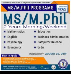 ISP admission MS/ MPhil 2019