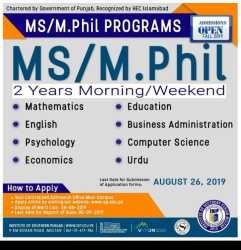 ISP admission MS/ MPhil 2019
