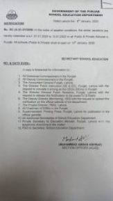 Extension in Winter Vacations 2021. Extension in winter vacations Notification