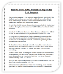 How to write AIOU Workshop Report for B.ed Program.
