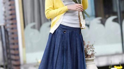 أحدث تصميمات تنورات جينز طويلة للمحجبات 2019 بالصور
