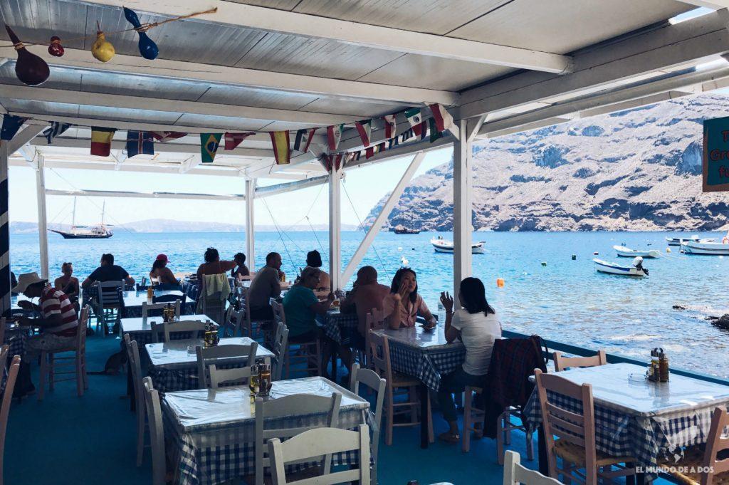 Restaurante de Korfos. Caldera de Santorini