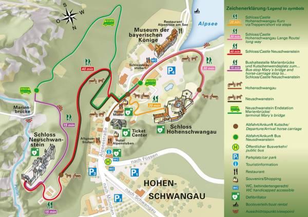 Mapa Neuschwanstein. El castillo del Rey Loco
