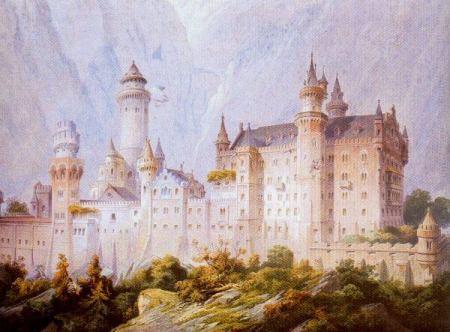 Primer borrador de Neuschwanstein. El castillo del Rey Loco