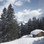 En tren camino a Mürren. Suiza en invierno