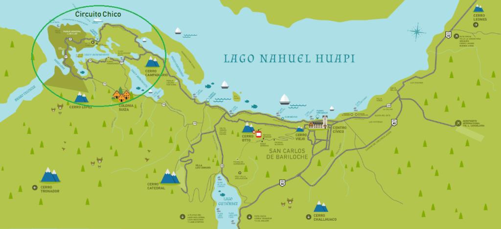 Mapa del Circuito Chico en Bariloche