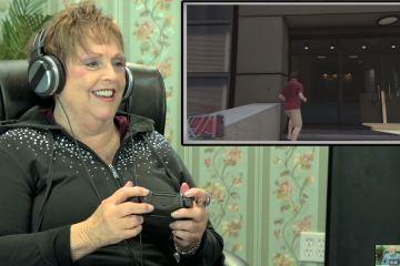 Senior citizen playing Grand Theft Auto V