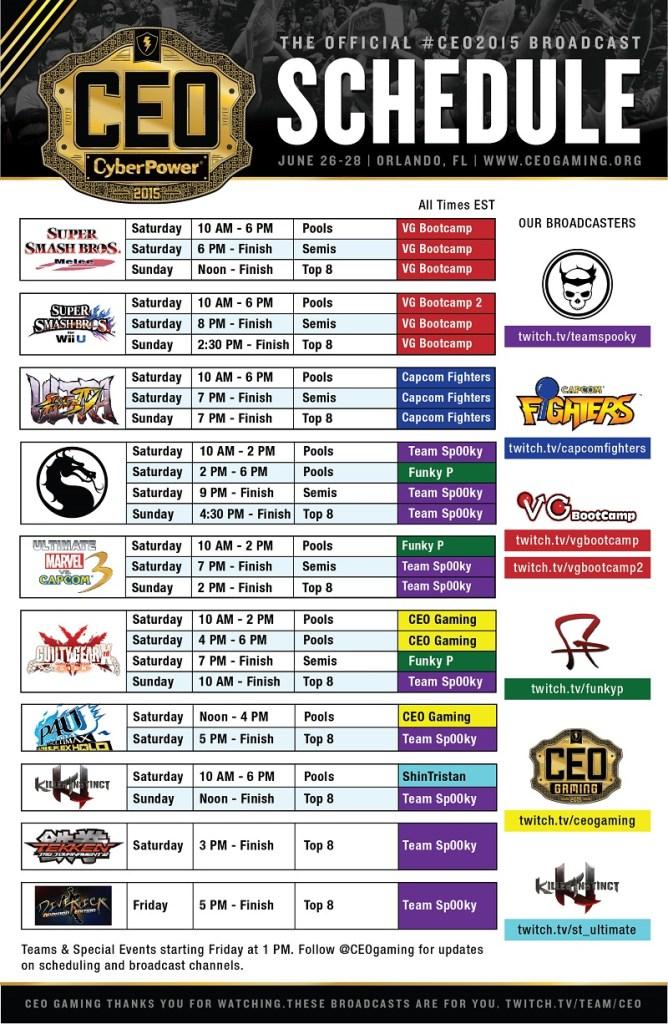 CEO 2015 - Stream Schedule