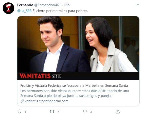 tuit sobre Froilán y Victoria