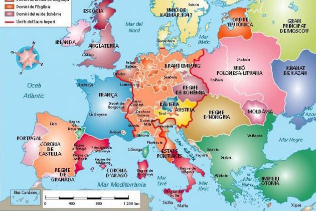 Test 5. Els Reis Catòlics i la unitat dinàstica hispànica. Mapa d'Europa en temps dels Reis Catolics. Font Arxiu d'El Nacional