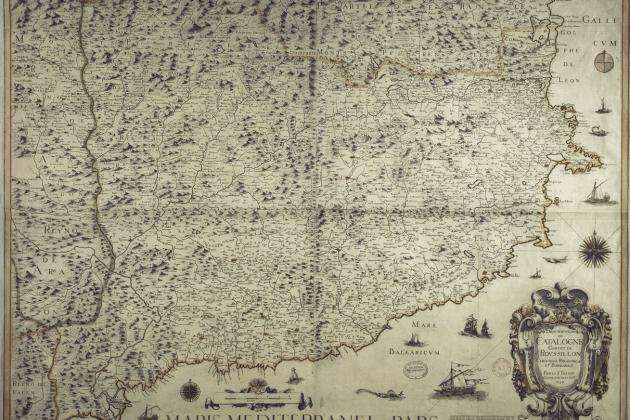 Nomenen primer ministre Richelieu, que incorporaria Catalunya a França. Mapa francès de Catalunya. 1645. Font Bibliothèque Nationale de France (1)