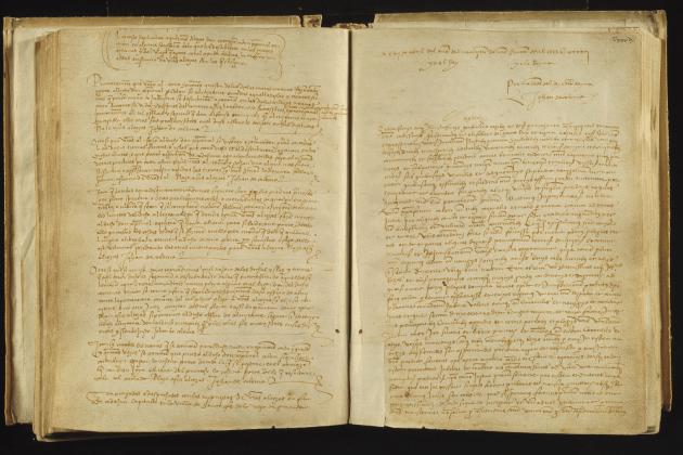 Colom i els Reis Catòlics signen les Capitulaciones de Santa Fe. Registre de les Capitulacions. Font Arxiu de la Corona d'Aragó