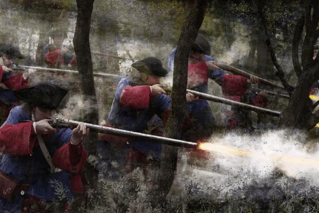 Batalla de Talamanca, la darrera victoria militar catalana a la Guerra de Successió. Representació contemporània dels fusellers catalans. Font Devolució