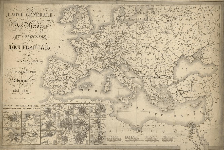 Mapa de l'expansió francesa durant les èpoques republicana i imperial. Cartografiat a Paris (1815). Font Bibliothèque National de France