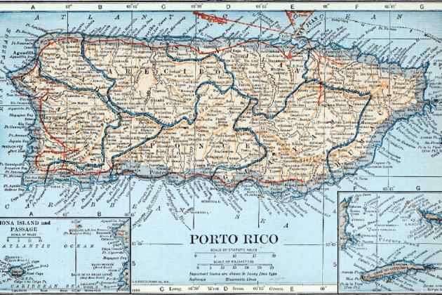 Els catalans de Puerto Rico passen a administració nord americana. Mapa nord americà de Puerto Rico (1921). Font Collier's New Encyclopedia