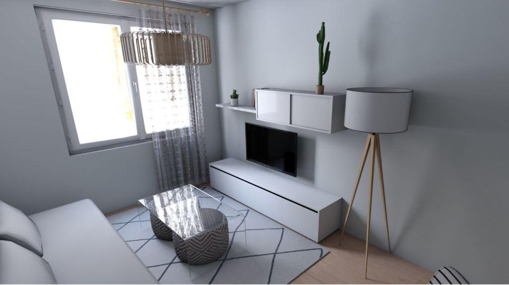 Salón vista frontal en colores neutros. Diseño de Vanessa Naveira
