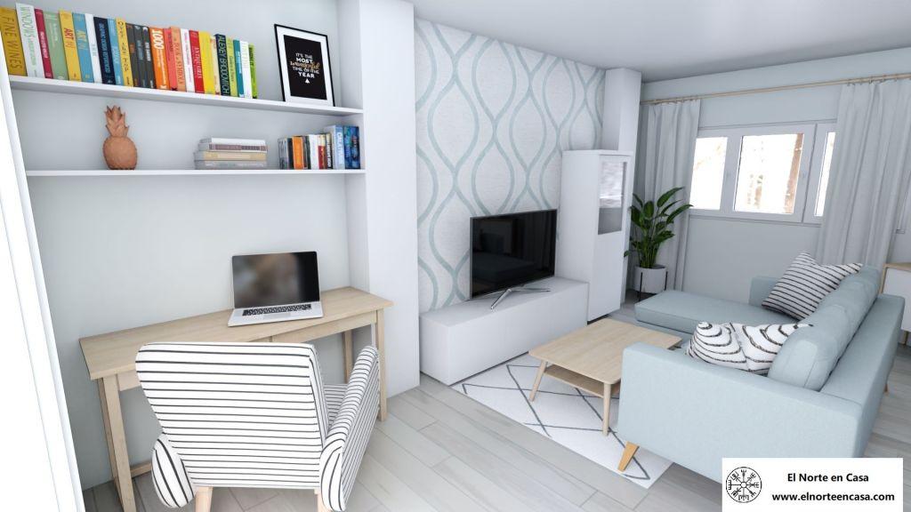 salón comedor en blanco y gris vista central con el mueble de salón y el sofá