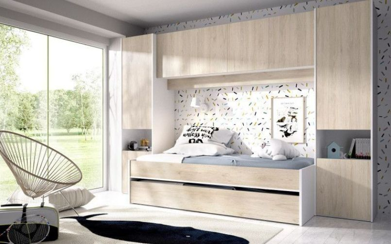 Cama nido con puente , armario y altillo modelo KWAI